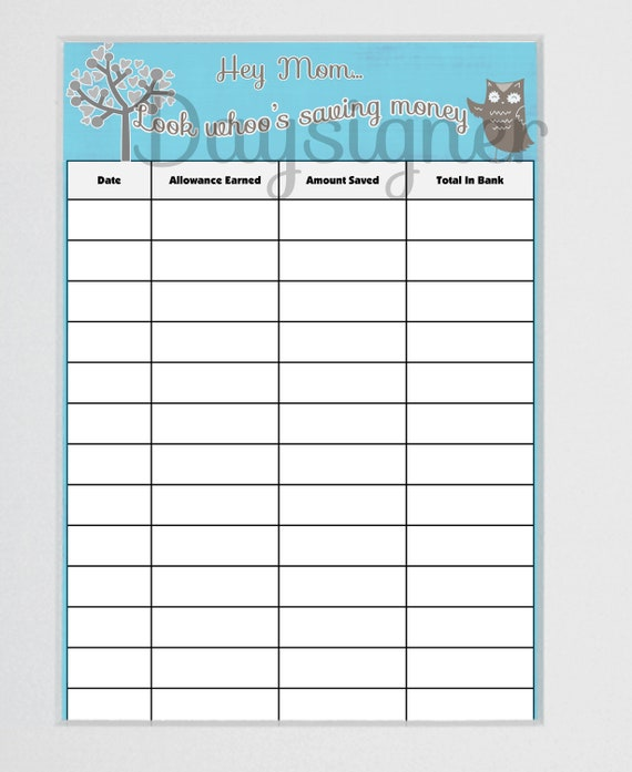Items similar to Saving money printable chart/ log for kids on Etsy
