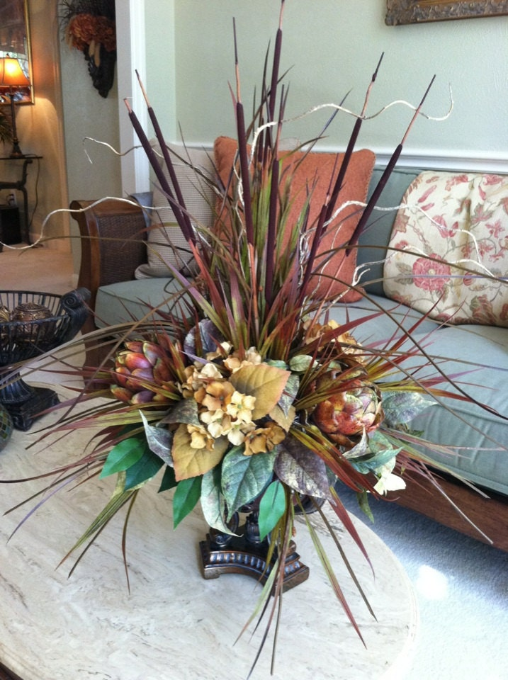 large silk floral arrangement gold hydrangeas by greatwoodflorals