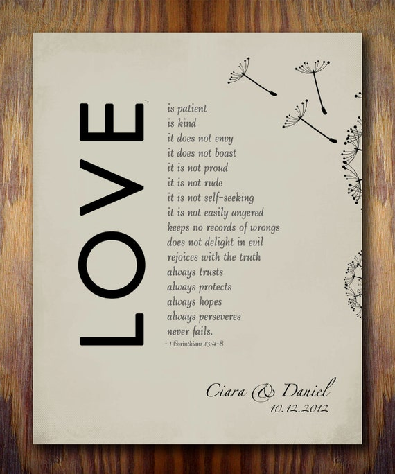 1 Year Anniversary Gifts For Husband Paper : 1st Wedding Paper Anniversary Gift Print, 1 Corinthians 13 Love is ...