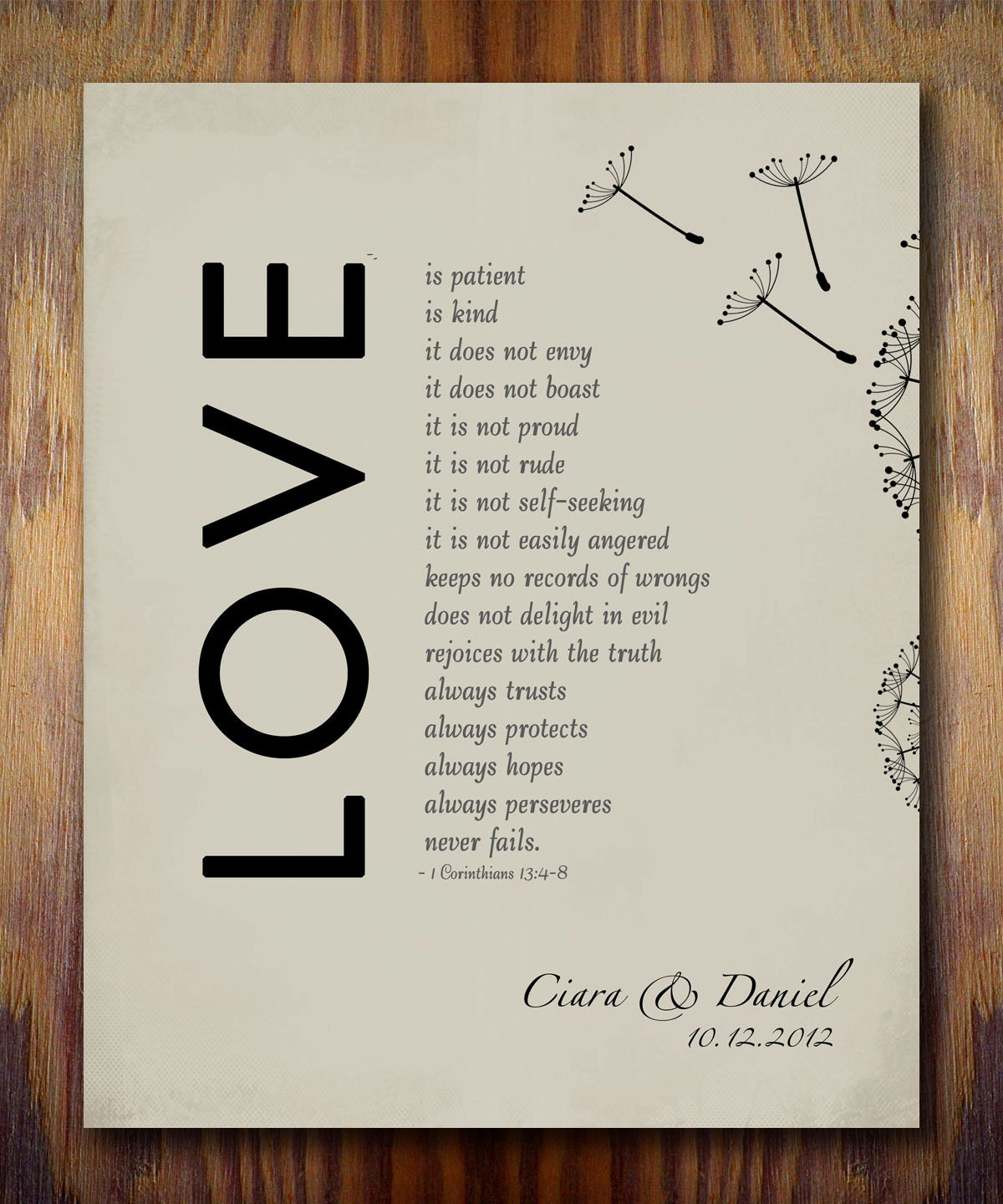 1st Wedding Anniversary Gifts Husband : 1st Wedding Paper Anniversary Gift Print 1 Corinthians 13