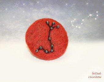Gifts for Scorpio, Needle felted brooch, Constellation brooch, Scorpio Zodiac, Red Scorpio brooch, hematite stones Red and Black Brooch