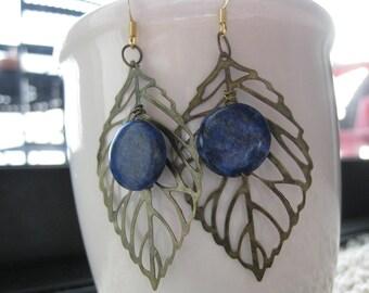 Autumn Copper Lapis Lazuli Antique Gold Plated Statement Earrings, Lapis Lazuli