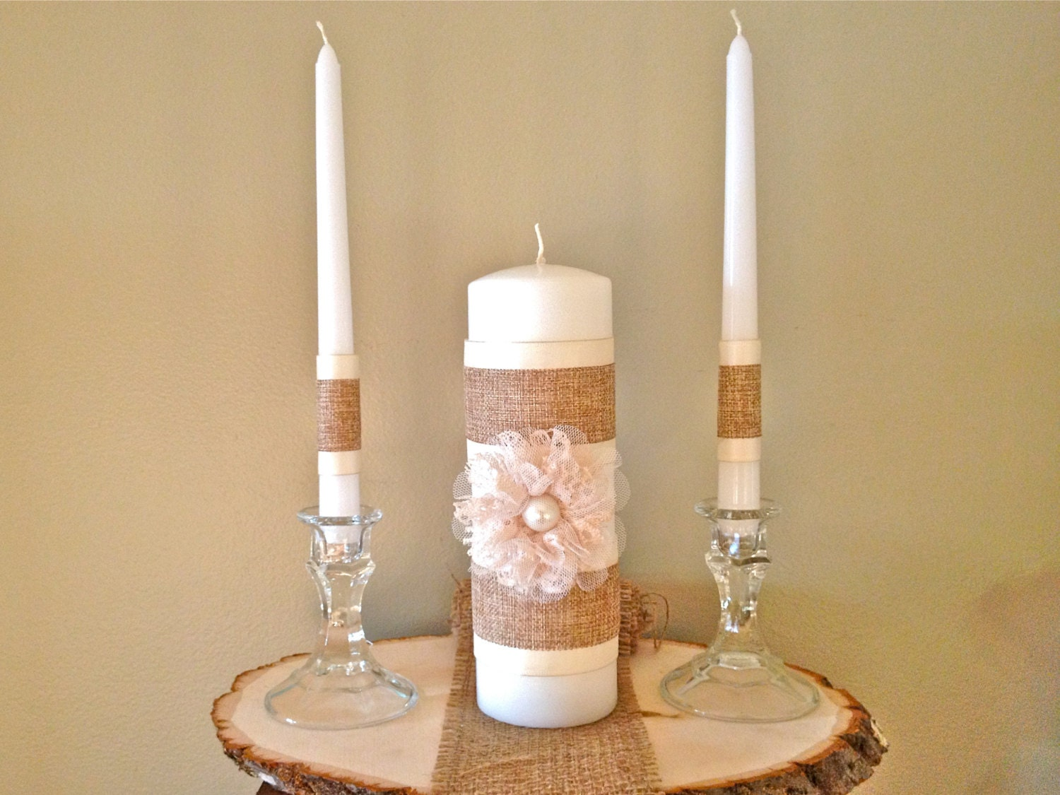 Wedding Candles: Lace Pearl And Burlap Unity Candle Complete Set