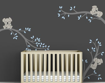 Blue Baby Boy Wall Decal Baby Nursery Tree Wall Sticker Decor - Koala Tree Branches by LittleLion Studio