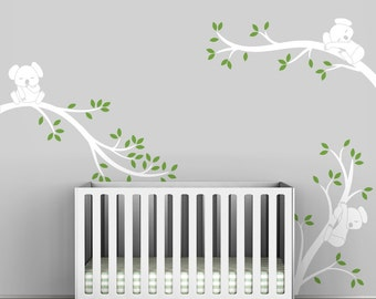 White Tree Wall Decal Baby Nursery White Tree Sticker Modern Decor   Koala  Tree Branches By Part 98