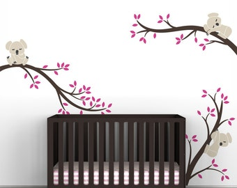 Hot Pink Kids Wall Decal Room Decor Baby Pink Girls Playroom Walls - Koala Tree Branches by LittleLion Studio