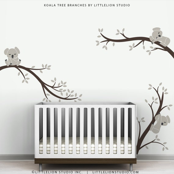 Baby Wall Decal Warm Gray and Dark Brown Kids Room Decor   Koala Tree  Branches by. Baby Wall Decal Warm Gray and Dark Brown Kids Room Decor