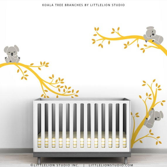 Cute baby wall decal room decor baby nursery yellow and grey for Room decor etsy