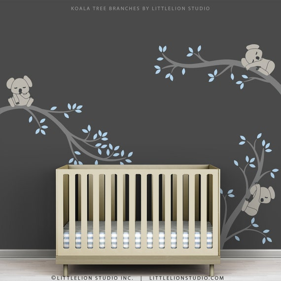 Blue Baby Boy Wall Decal Baby Nursery Tree Wall Sticker Decor - Baby boy nursery wall decals