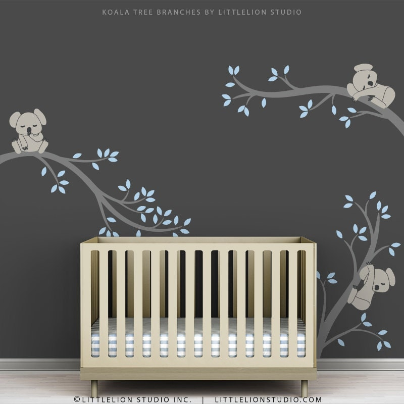 Blue baby boy wall decal baby nursery tree wall sticker decor for Baby room decoration wall stickers