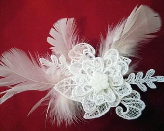 White Hair Fascinator Clip Feathered Bridal White