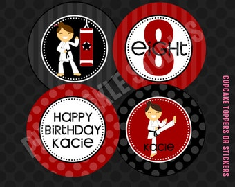 Karate Cupcake Toppers, DIY Cupcake Toppers, Printable Cupcake Toppers, Party Circles :No.214
