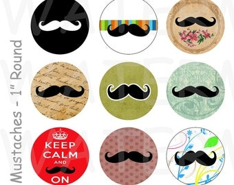 99 Cent Sale - Mustaches - 4 x 6 Digital Collage Sheet  - 1 inch Round Circles - INSTANT DOWNLOAD