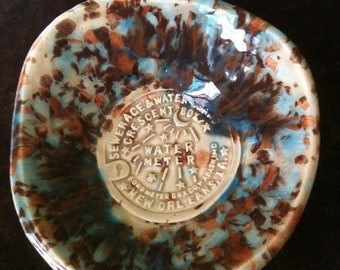New Orleans Water Meter mocha and blue handmade Pottery Bowl
