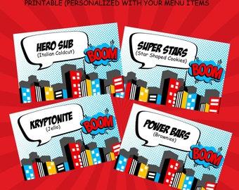 Superhero Buffet Tent Cards - Printable