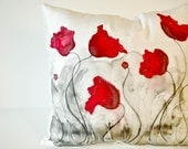Red poppy field red and grey handpainted 16x16 silk throw pillow cover Made to Order - LoveArtWillTravel