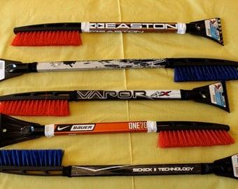 The Original Hockey Stick Snow Brush with Ice Scraper