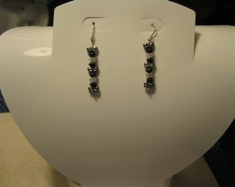 BUTTERFLIES and BLACK BEADS Dangle Pierced Earrings - Handmade, One of A Kind