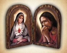 Sorrowful Hearts Jesus & Mary Wood Diptych, Sorrowful Mother, Our Lord in Agony, Catholic Gift