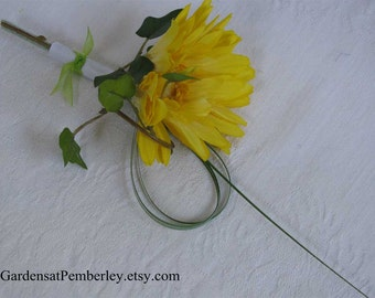 Yellow Gerbera Daisy Silk Boutonniere Prom / Homecoming / Wedding