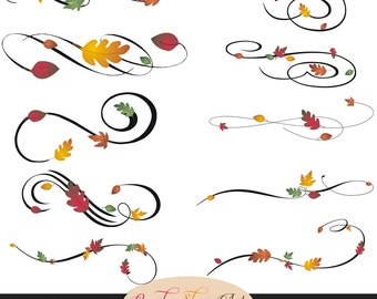 Instant Download - Autumn Swashes, Swirls, Calligraphy Swashes, Fall Leaves Clip Art, Digital Clip Art, CU, Wedding Clip Art, Decorative