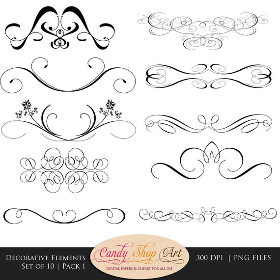 Decorative Swashes Swirls Calligraphy Swashes Clip Art