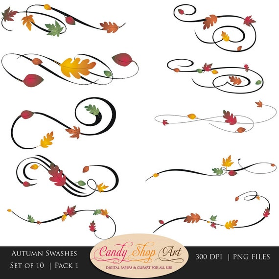 Instant Download Autumn Swashes Swirls Calligraphy