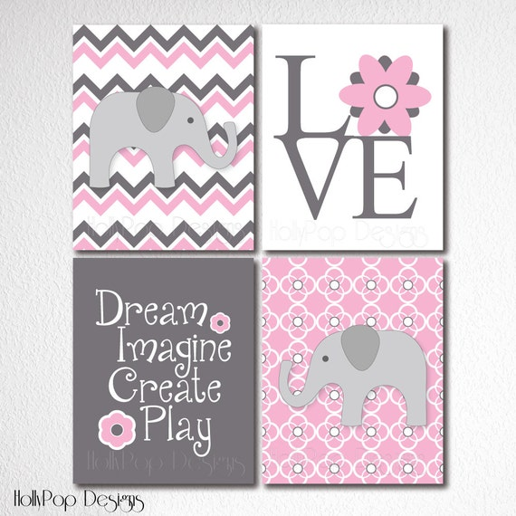 Nursery wall decor artwork for kids set of 4 prints pink gray for Baby girl wall decoration