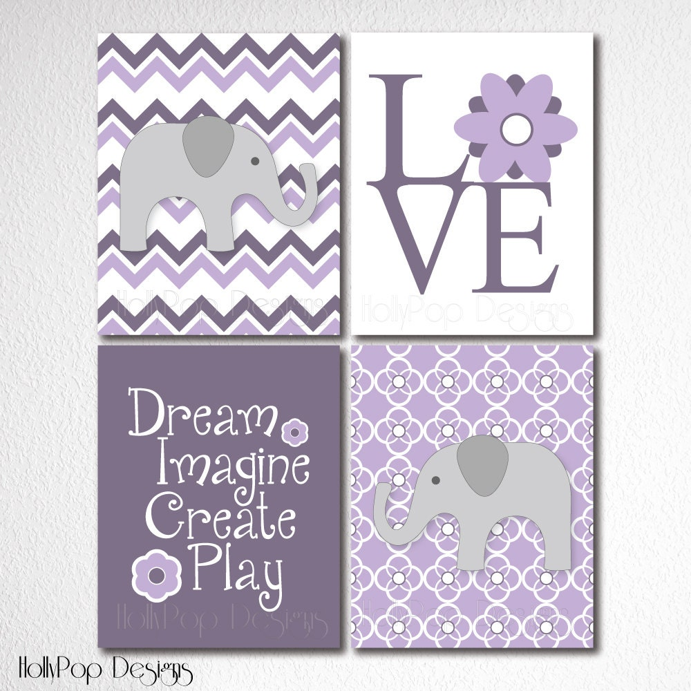Nursery Wall Decor Set : Nursery wall decor childrens room set of prints purple