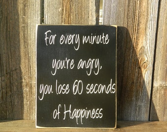 Inspirational wood quote--Happiness