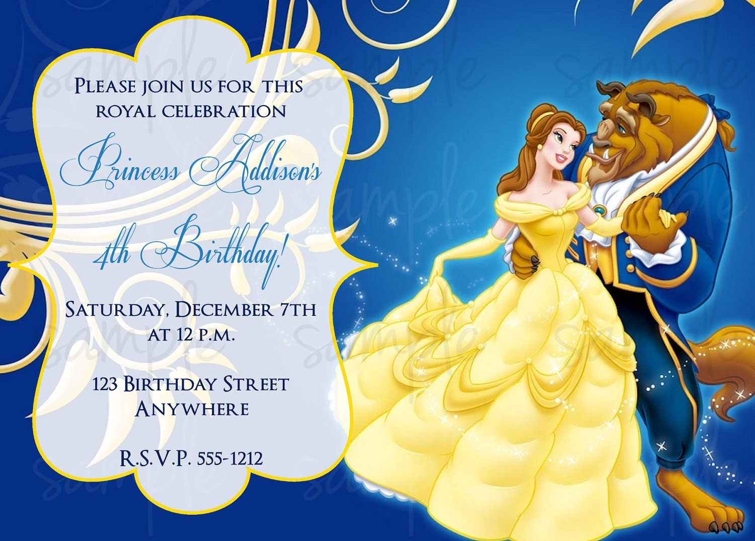 Beauty and the beast birthday invitation for Beauty and the beast wedding invitation template free