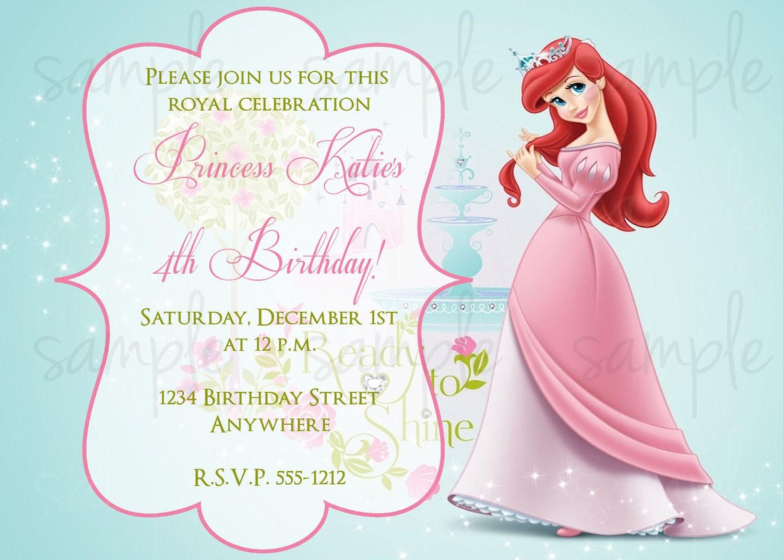 princess ariel birthday invitation, Birthday invitations