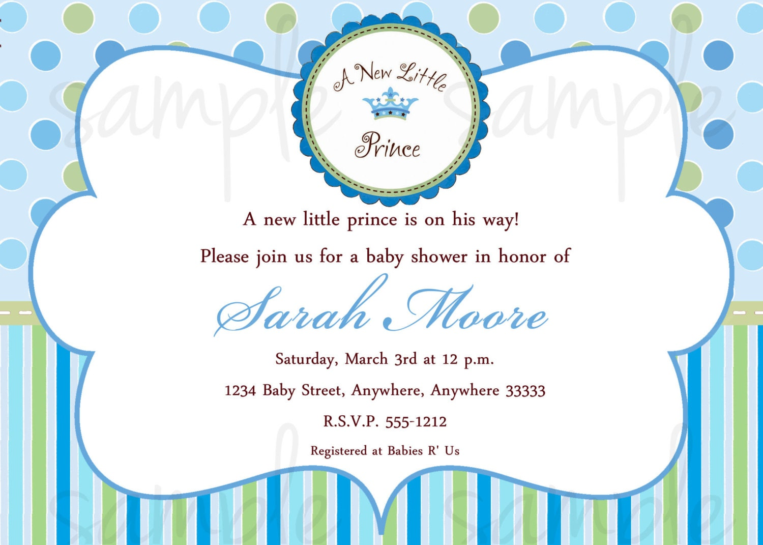 Princess Baby Shower Invitations. 100 Little Prince Invitations Baby ...