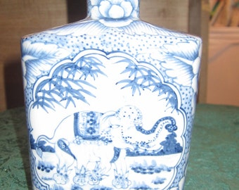 REDUCED 50%Thai blue and white porcelain vase with Elephant