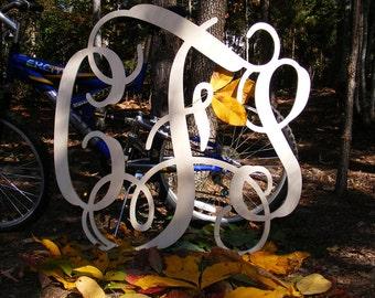 "35"" Vine Script Three Letter Monogram- Wood Letter monogram-home decor- wedding decor"