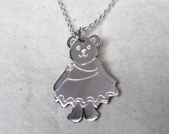 Silver Tansy Teddy Bear Pendant