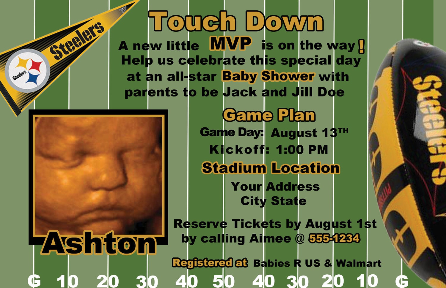 Baby Showers Pittsburgh ~ Pittsburgh steelers football baby shower invite