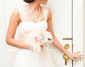 Faith... Pearl & Ostrich Feather Bridal Bouquet wedding Muted Pastels