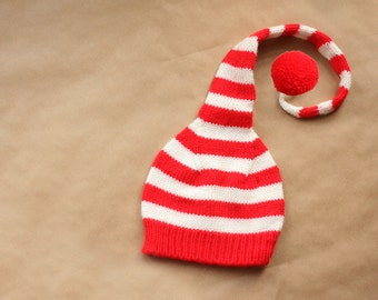 Christmas baby cap - Infant knitted hat - Newborn boy girl Christmas knitted hat - elf hat - Photo prop - Stocking hat