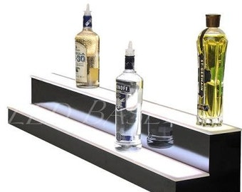 "22"" 2 step shelf Lightd Color Changing Bottle Display"