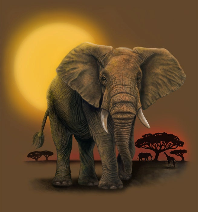 African Elephant Painting-Print
