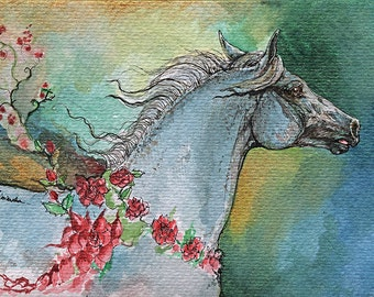 Balon polish arabian stallion original watercolor painting