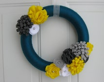 Teal, Yellow and Grays Yarn and Felt Flower Wreath,  Door Wreath, Front Door Wreath