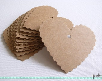 """Scalloped Heart Shaped Kraft Tags - Set of 20 - Hang Tags, Gift Tags, Wedding Favor Tags, Label, Die Cut, Merchandise Tags - 2.4"""" by 2.6"""""""