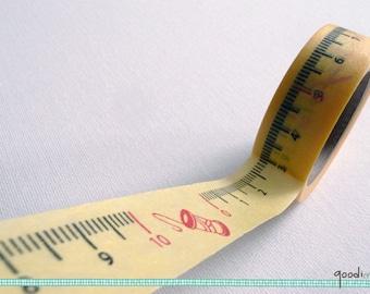 Tailor's Ruler Washi Tape / Masking Tape - Yellow, 10m