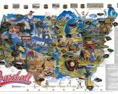 Baseball Stadiums Wall Map Poster