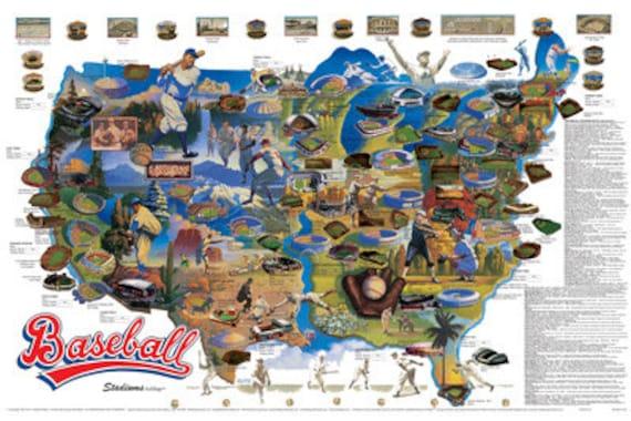 Baseball Stadiums Wall Map Poster C 1990 Lithograph