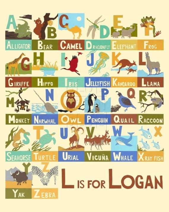 Items similar to Animal Alphabet Print with Custom Name ...