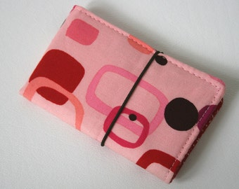 """Small Wallet """"Retro Deco Pink"""", Buisness cards holder"""