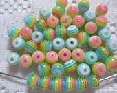 25  Pink Green Yellow & Sky Blue Pastel Striped Round Acrylic Resin Beads  6mm